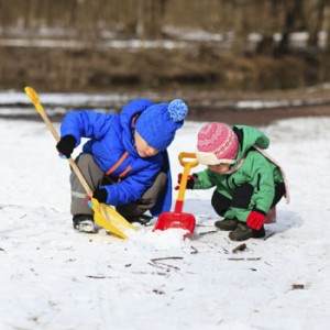 Photo of children shovelling