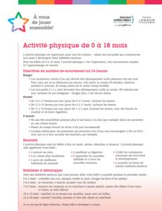 Recommandations d'ctivité physique pour les nourrissons