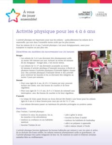 Recommandations d'activité physique pour les enfants qui vont à la maternelle