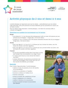 Recommandations d'activité physique pour les enfants d'âge préscolaire