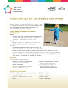 Recommandations d'activité physique pour les bambins / tout-petits